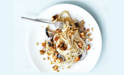 haloumi pasta with mushrooms