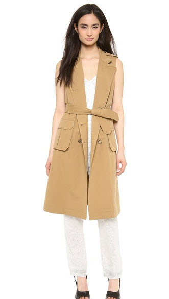 shopbop sleevlesss trench