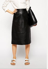 asos straight leather skirt