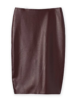 c road burgundy leather skirt