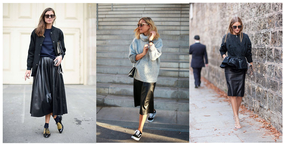 leather skirts street style x3