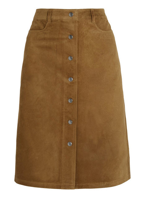tan suede skirt theory