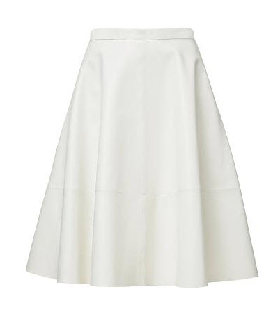 seed white leather skirt