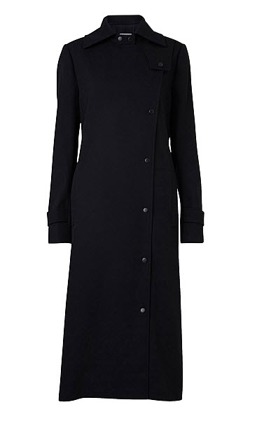 witchery long navy trench coat