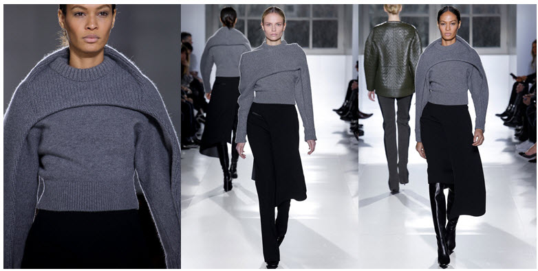 balenciags grey cape sweater runway