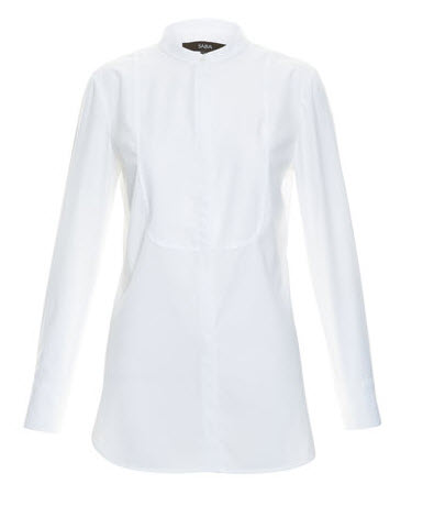 saba white collarless shirt