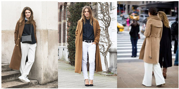 white jeans camel coats
