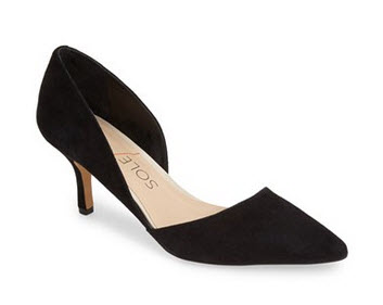 black suede dorsay pumps