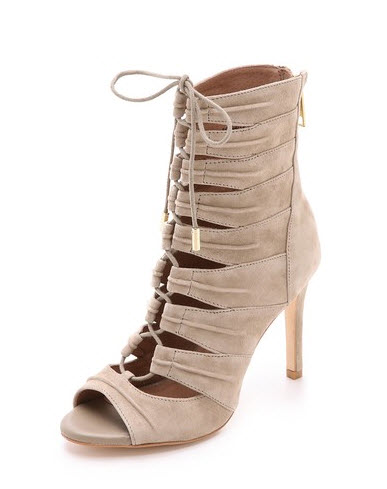 laceup taupe heels