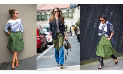 street style khaki skirt get the look