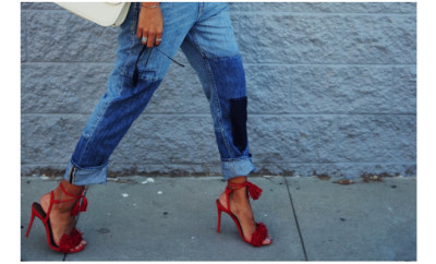 cuffed jeans red shoes