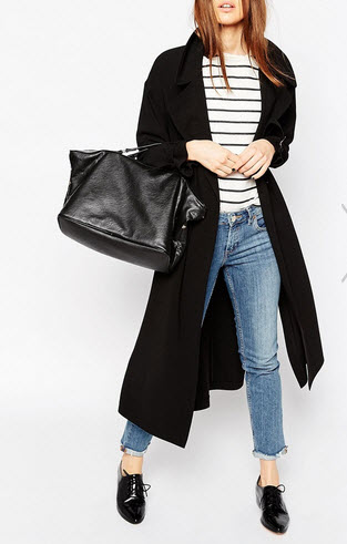 asos black trench