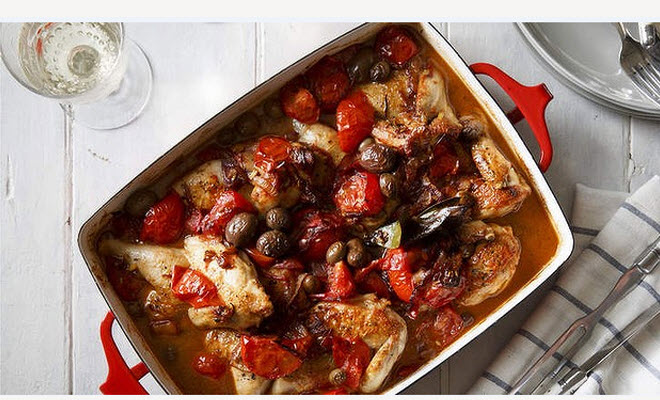Baked chicken with tomato, sherry, fennel seeds & olives ...