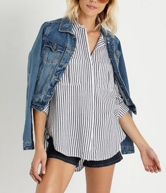 cotton on blue stripe shirt