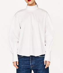 zara high collar shirt