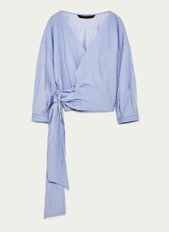 zara stripe wrap shirt