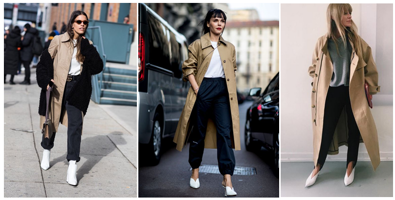 steal her style x 3 long trench white shoes