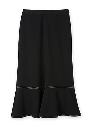 c road blk long flared skirt