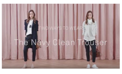 two way with navy clean trousers trenery