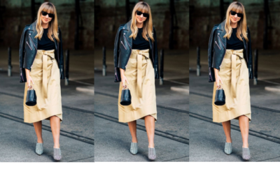 steal her style cargo skirt and leather jkt